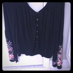 Billabong Tie-Waist Blouse with Bell Sleeves